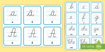 Literele mici și mari de mână Cartonașe - litere, de mână, litere mici de mână, mari de mână, clasa I, alfabetul,Romanian