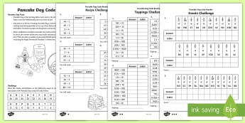 KS2 Pancake Day Codebreaker Differentiated Worksheet / Activity Sheet - Code, Addition, Subtraction, Multiplication, Division, Y3, Y4, Y5, Y6, worksheet