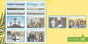 Tarjetas de secuenciar de cuento: La historia de la Semana Santa - Pascua, Semana Santa, Jesús, Cristo, crucufixión, secuenciar, cuento, historia, religión, biblia,