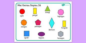 2D Shape Word Mat (Welsh) - 2D Shape Word Mat, Welsh, word mat, mat, writing aid, Wales, 2D, shape, words, octagon, pentagon, shapes,cymru