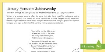 Literary Monsters: 'Jabberwocky' Activity Sheet - Halloween, monster, Lewis Carroll, Alice in Wonderland, Looking Glass, Jabberwock, word type, classi