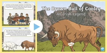 The Brown Bull of Cooley PowerPoint - The Brown Bull of Cooley, legends, myths and legends, ireland, brown bull, queen maeve,