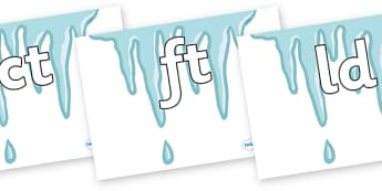 Final Letter Blends on Icicles - Final Letters, final letter, letter blend, letter blends, consonant, consonants, digraph, trigraph, literacy, alphabet, letters, foundation stage literacy