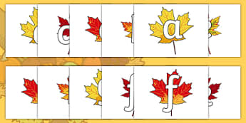 Phoneme Set on Autumn Leaves - Phoneme set, phonemes, phoneme, Letters and Sounds, DfES, display, Phase 1, Phase 2, Phase 3, Phase 5, Foundation, Literacy