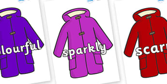 Wow Words on Coats - Wow words, adjectives, VCOP, describing, Wow, display, poster, wow display, tasty, scary, ugly, beautiful, colourful sharp, bouncy