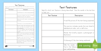 Text Features Activity Sheet - Nonfiction, Caption, Labels, Table of Contents, photograph, illustration, worksheet