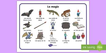 Set de mots : La magie - Sorcier, Sorcière, Magie, Halloween, Magicien, vocabulaire, Cycle 1, Cycle 2,French