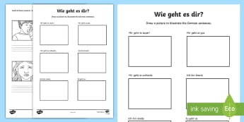 How Are You? German Phrases Activity Sheet - Basic Phrases, German, How Are You, mFL, Languages,-translation, worksheet,