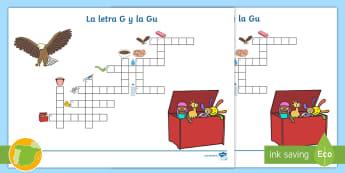Crucigrama: La letra G y la Gu - juego lectoescritura, juego lecto, juego didáctico, lecto, sonidos, lecto-escritura, fonemas, sonid