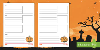 Halloween Recount Writing Template - Key Stage One, Recall, Remember, Event, Scary, Night, Festival