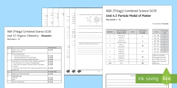 AQA Combined Science (Trilogy) Unit 6.3 Particle Model of Matter Test - KS4 Assessment, Test, Particle Model of Matter, Pressure, Solid, Liquid, Gas, Density, Changes of St