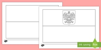 Polish Flag Colouring Page - Poland, Colour, Template, Black and White, Sheet, Cut Out, mindfulness, geography