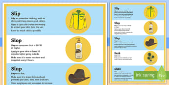 Slip, slop, slap, seek, slide A2 Display Poster - Surf Life Saving Australia, sun safety, sun safe, life saver, lifeguard