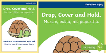 Earthquake. Drop, cover and hold. A4 Display Poster - earthquake, safe walls, ruaumoko, turtles