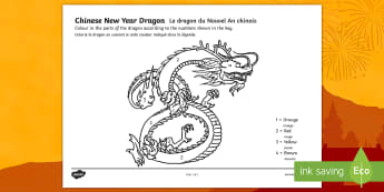 Chinese Dragon Number Colouring Page English/French - Chinese Dragon Number Colouring by Numbers Sheet - colouring, sheets, fine motor skills, colour by n