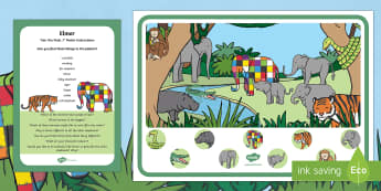 Elmer Can You Find...? Poster and Prompt Card Pack to Support Teaching on Elmer  - Elmer, David McKee, colour, spot, I spy, jungle, hidden, rainforest, jungle animals, elephant