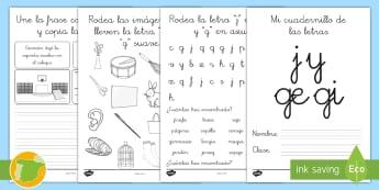 Cuadernillo de lecto: La J y la G Cuadernillo de lengua - lecto, leer, lectura, sonidos, letra , lecto-escritura, letra k, letra w, letra x, la k, la w, la x,