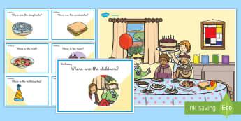 Actividad para practicar las preposiciones: La fiesta de cumpleaños  - birthday, Prepositions, Questions, Game, Cards, Preguntas Y Respuestas, Preposiciones, Inglés, Preposiciones