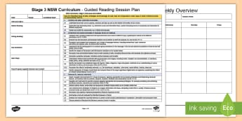 Stage 3 NSW Curriculum Guided Reading Planning Template - Year 6, Year 5, NSW Curriculum Outcomes Guided Reading Planning Template, Australia, Curriculum Cont