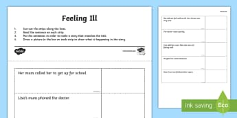 Feeling Ill Story Sequencing Worksheet / Activity Sheet - reading, comprehension, sequencing, feeling sick, worksheet / activity sheet, worksheet,Irish