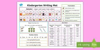 Kindergarten Writing Word Mat  - kindergarten, word mat, word wall, writing, visual support, upper case, lower case, alphabet, word b