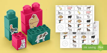 Farm Animals Matching Connecting Bricks Game - EYFS, Early years, KS1, on the farm, animals, living things, pig, cow, sheep.