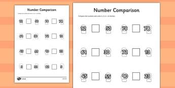 The Mitten Number Comparison Worksheets - the mitten, comparison