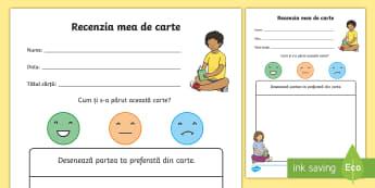 Recenzia mea de carte Fișă de activitate - citire, recenzie, limbă română, lectură, scriere,Romanian