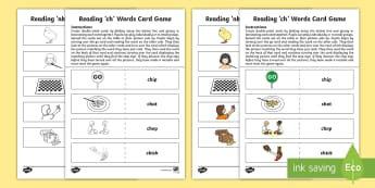 Reading 'ch' Words Card Game - CfE, early level, literacy, reading, phonics, blending, reading games, self-correcting games, digrap