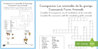 Crucigrama - animales de la granja - animales, vaca, cerdo, oveja, pato, caballo, cabra, burro, oca, gallina, cabra, juego, vocabulario