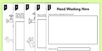 Differentiated Handwashing Hero Activity Sheet - hands, washing, wash, clean, hygiene, germs, worksheet
