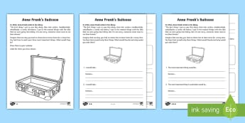 Anne Frank's Suitcase Read and Draw Activity Sheet - World Around Us KS2 - Northern Ireland, Second World War, Anne Frank, Evacuee, World War 2, Suitcase