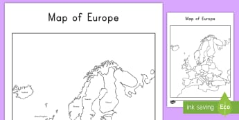 Map of Europe With and Without Names Activity Sheets - map, Europe, geography, worksheet, map-reading, continent, united kingdom, france, germany, russia