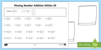 Missing Number Addition Within 20 Activity Sheet - Mental Maths Warm Up + Revision - Northern Ireland, addition within 20, missing number.