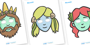 Sea Creatures and Mermaid Role Play Masks (Under the Sea) - role play mask, role play, sea creature, mermaid, under the sea, jellyfish, fish, shark, octopus