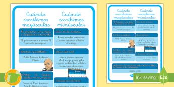 Póster: El uso de mayúsculas - ortografia, normas, mayúsculas, minúsculas, cómo se escribe