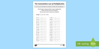 The Commutative Law (Multiplication) Activity Sheets