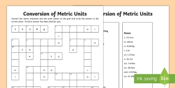 UKS2 Conversion of Units Measurement CrossNumber Activity Sheet - gram, litre, metre, kilogram, kilometre, crossword, millimetre, centimetre, millilitre, worksheet