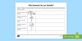 How Do You Travel to School? Class Survey Activity German - Travel, Transport, German, Class Survey, MFL, Languages