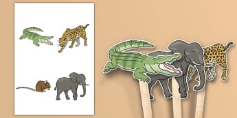 Crocodile Themed Stick Puppets - The Selfish Crocodile, drama, acting, making, models, english, literacy, animals, zoo, ks1, eyfs