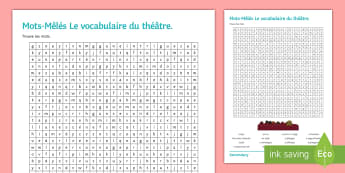 Vocabulary of the Theatre Differentiated Word Search French - French, reading, writing, theatre, devices,French