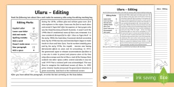 Uluru Editing Activity Sheet - Ayers Rock, proof-reading, edit, Australian landmarks, punctuation,Australia, worksheet