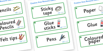 Jade Themed Editable Creative Area Resource Labels - Themed creative resource labels, Label template, Resource Label, Name Labels, Editable Labels, Drawer Labels, KS1 Labels, Foundation Labels, Foundation Stage Labels