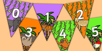 Jungle Themed 0 31 Bunting - jungle themed, jungle bunting, 0-31 on bunting, numberline bunting, jungle numberline bunting, bunting