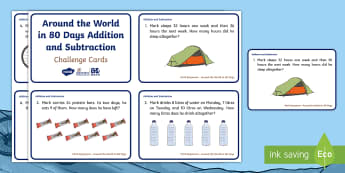 KS1 Around the World in 80 Days Addition and Subtraction Maths Challenge Cards - Mark Beaumont, cycle, cycling, bike, bicycle, challenge, adventure, goal, target, setting, World Rec