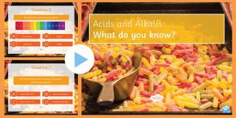 pH Scale Quiz PowerPoint - PowerPoint Quiz, Acid, Alkali, Neutral, pH Scale, pH, Hydrogen, Indicator, Litmus Paper