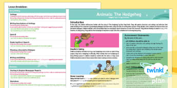 Animals: The Hodgeheg The Hodgeheg Y3 Overview To Support Teaching on 'The Hodgeheg' - Dick King-Smith, animals, hedgehogs, autumn, road safety