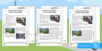 KS1 A Day in the Life of a Tour de France Rider  Differentiated Comprehension Go Respond  Activity Sheets - Cycling, Year One, Year Two, English, Literacy