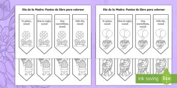 Punto de libro: El día de la Madre - día de la madre, mother's day Spain, bookmarks, punto de libro, colorea, colour-in,Spanish