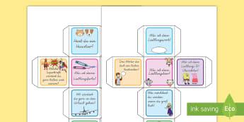 Ein Gespräch führen Würfelspiel: Addieren und Anmalen - Gespräch führen, Gespräch leiten, Gespräch anfangen, kennenlernen, kennen lernen, neuer Schüler